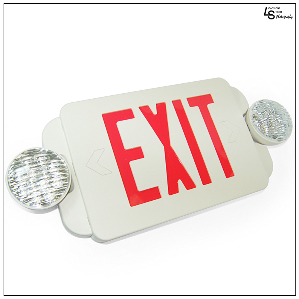 eToplighting LED Red Exit Sign Lighting Emergency Light Combo with Battery Back-Up UL924 ETL listed, WMLS1466