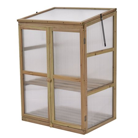 Costway garden portable wooden greenhouse cold frame for Inexpensive greenhouse shelving wood