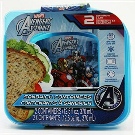 2 Count 12.5 Fl Oz. Avengers Marvel Comic Lunch Sandwich Containers with Lids (Pack of 2)