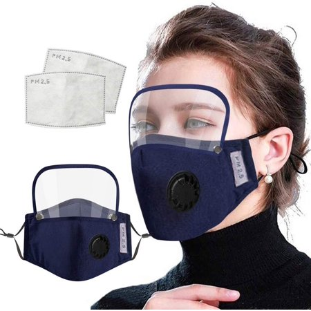 ECOSPRIAL Fashion Face Mask, Washable Reusable Face Protection with Filter Detachable Eye Shield