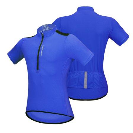 Men's Short Sleeve Cycling Jersey Breathable Half Zipper MTB Riding Biking Bicycle Shirt Top (Cap Sleeve Bike Jersey)