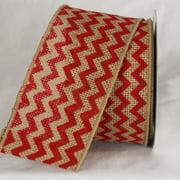 "Red Chevron Print Burlap Wired Craft Ribbon 3"" x 40 Yards"