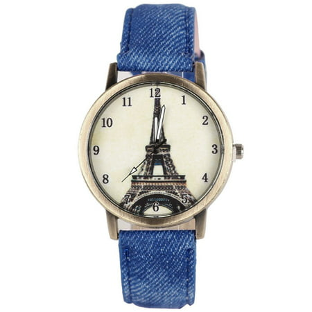 Christmas Clearance Women Eiffel Tower Denim Leather Quartz Watch Women Casual Wristwatch Sports Watches