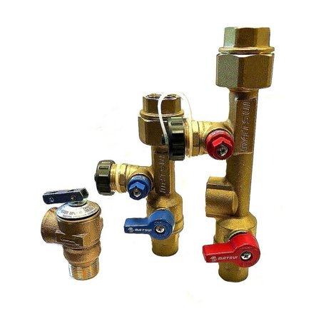 "matsui 3/4 inch, 3/4"" isolation valve kit with pressure relief valve"
