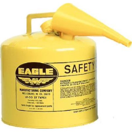 Eagle 5 Gallon Yellow Type 1 Safety Diesel Gas Can With F-15