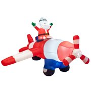 Costway 8Ft LED Inflatable Christmas Santa Claus Flying Airplane Blow-Up Yard Decoration
