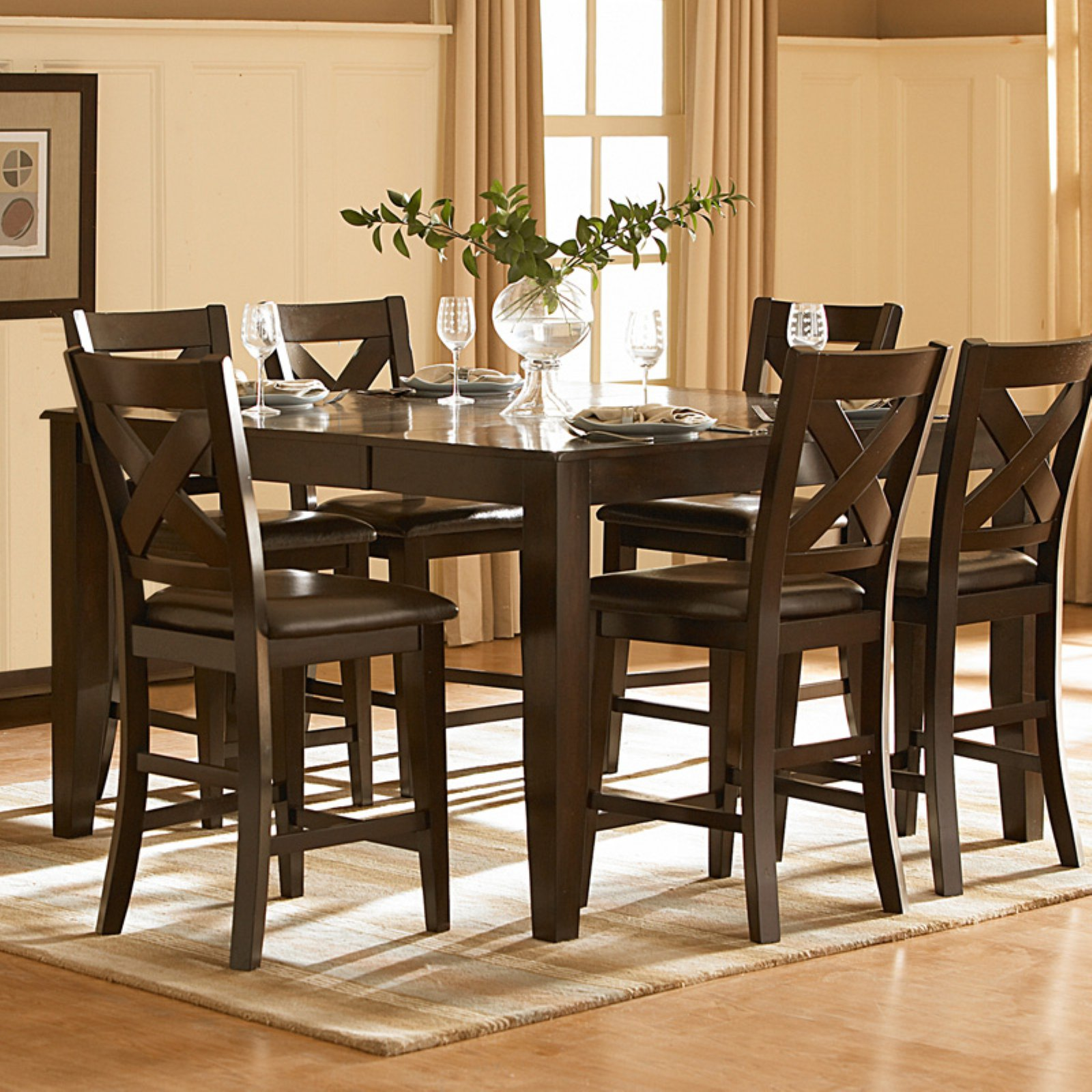 """Weston Home Square Counter Height Table with 18"""" Butterfly Leaf, Warm Merlot"""