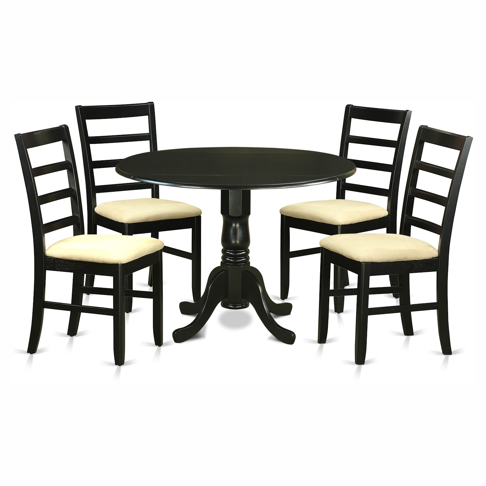 East West Furniture Dublin 5 Piece Drop Leaf Dining Table Set with Parfait Microfiber Seat Chairs