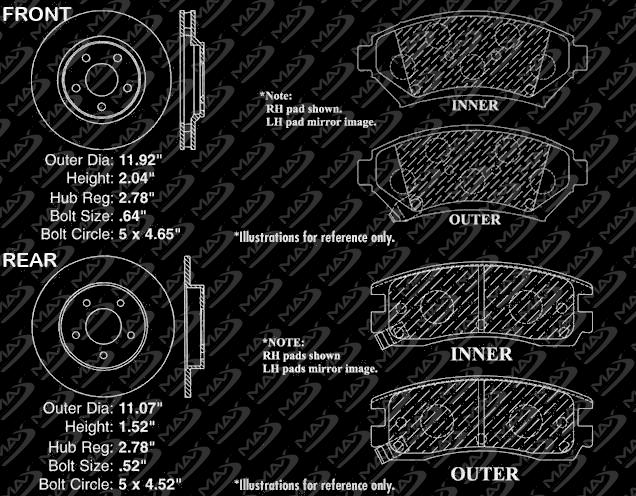 Rotors Metallic Pads F+R OE Replacement 2003 2004 Pontiac Bonneville SLE