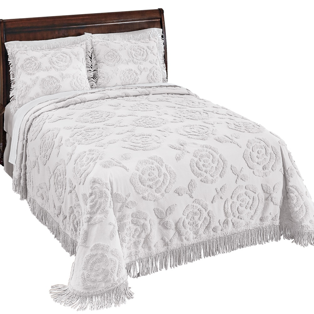 Rose Blossom Chenille Lightweight Bedspread, King, White
