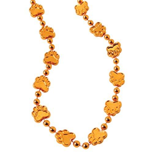 "Dozen Orange Metallic Paw Print Design Plastic Necklaces - 32"""