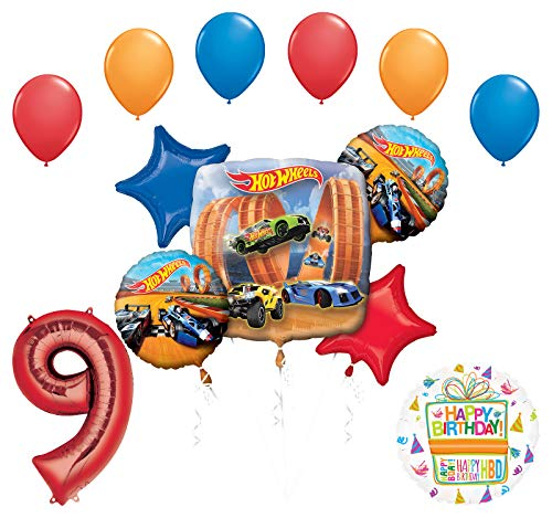 Mayflower Products Hot Wheels Party Supplies 9th Birthday Balloon Bouquet - Hot Wheels Birthday Decorations