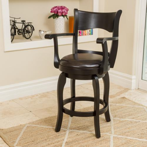 Tatum 24 Inch Espresso Leather Swivel Counter Stool With Arm