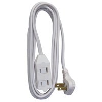 Extension Cord, 16/2 Spt-2 Low Profile Cube Tap, White, 11', HWGB, 09419ME