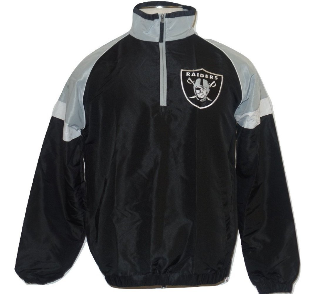Oakland Raiders Men's Quarter Zip Pullover Wind Breaker