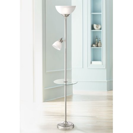 360 Lighting Modern Torchiere Floor Lamp with Table Glass Brushed Nickel Adjustable Side Light for Living Room Reading - Floor Nickel Floor Lamp
