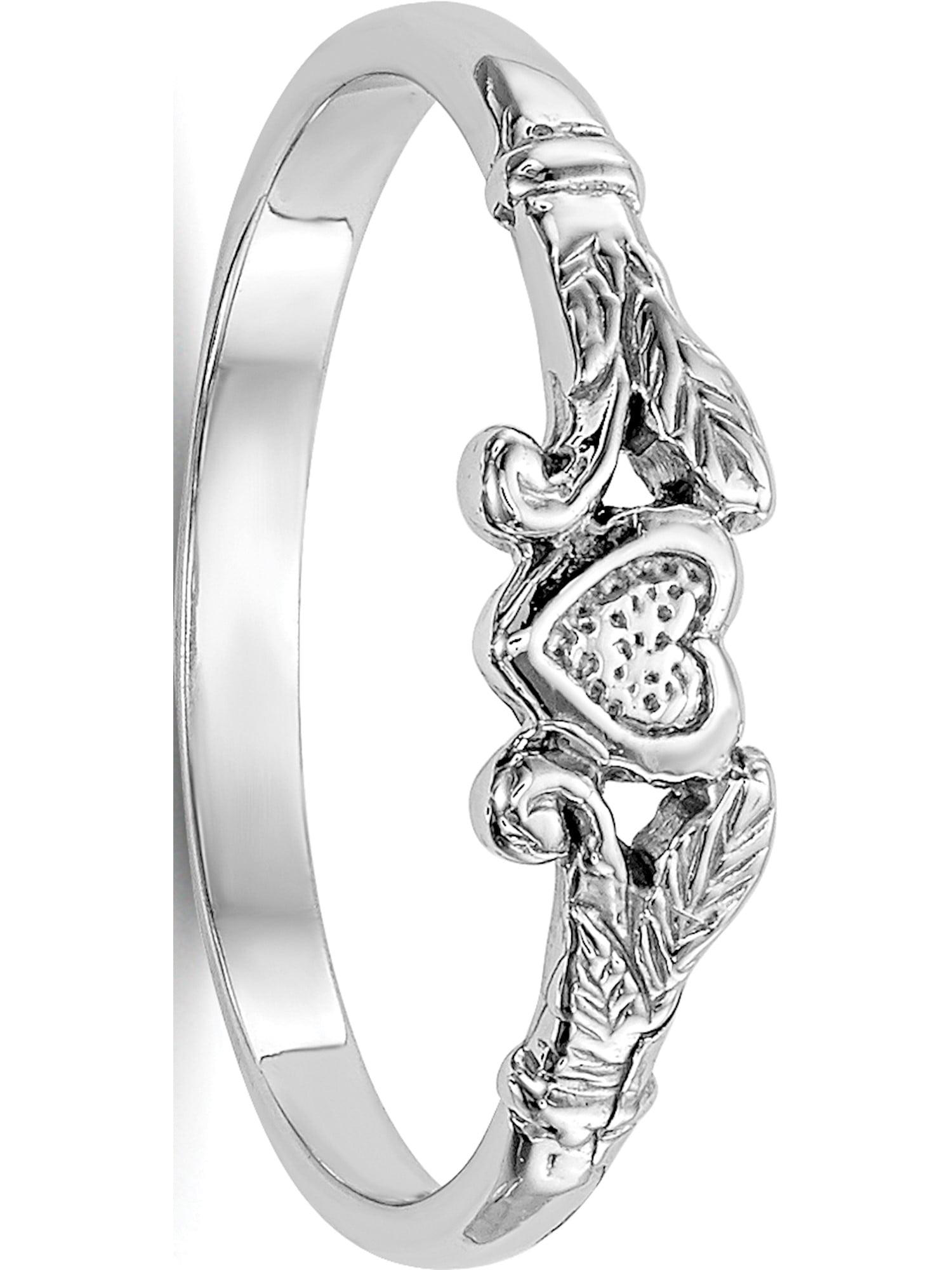 14k White Gold White Textured Mini Heart Baby Ring