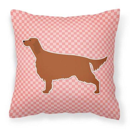 Carolines Treasures BB3593PW1414 Irish Setter Checkerboard Pink Fabric Decorative Pillow - image 1 of 1