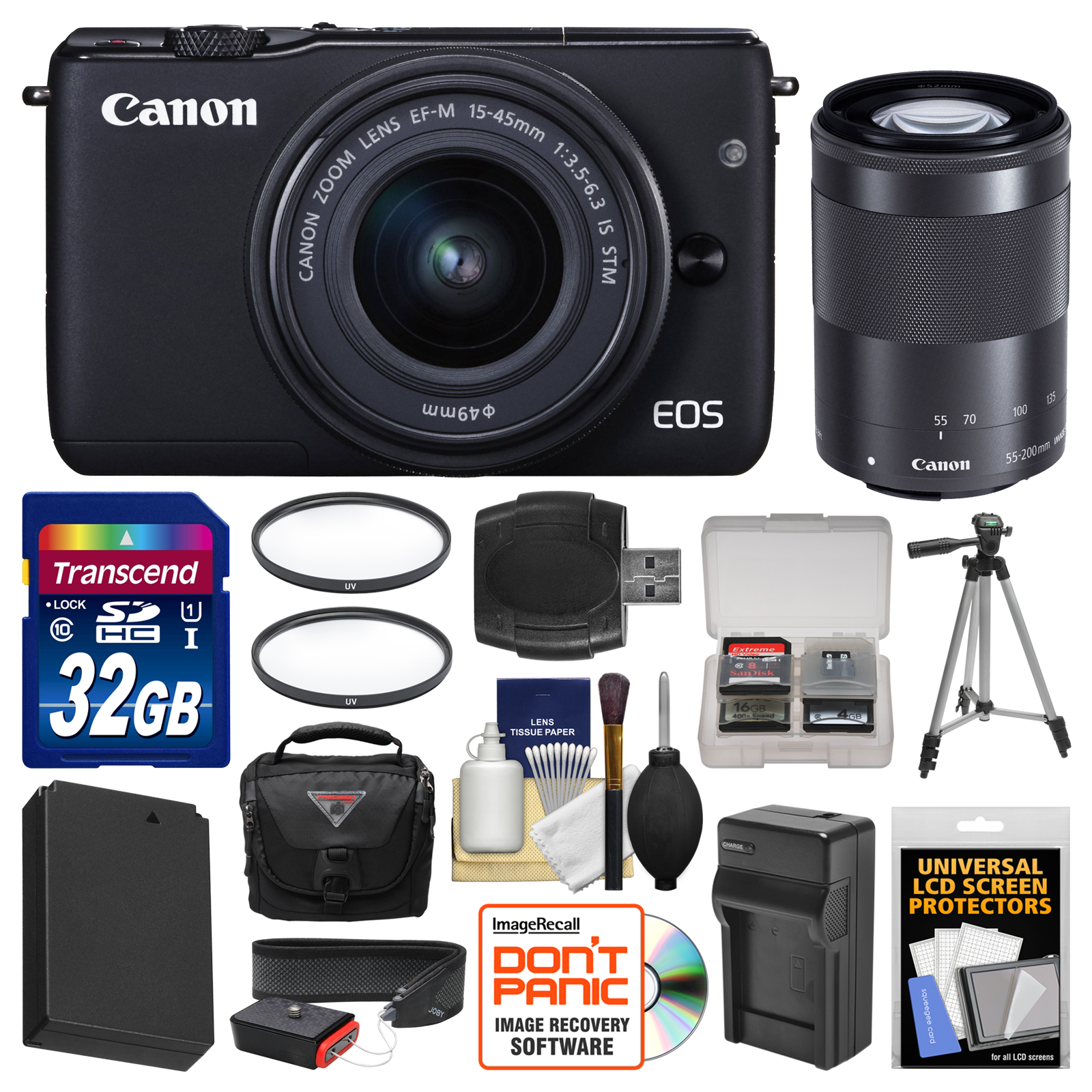 Canon Eos M10 Wi Fi Digital Ilc Camera With Ef M 15 45mm 55 200mm Kit 45 Is Stm 10 Lens Black 32gb Card Case Battery Charger Tripod Filters