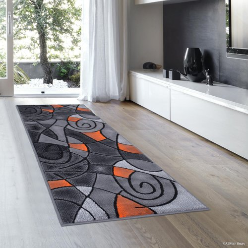 AllStar Rugs Orange/Gray Area Rug