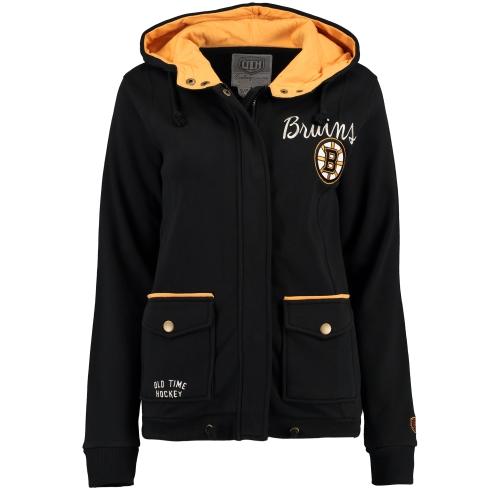 Boston Bruins Old Time Hockey Women's Old Bienne Full Zip Hooded Fleece Jacket Black by Old Time Hockey