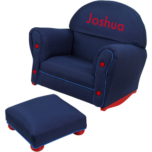 KidKraft - Personalized Denim Rocker and Ottoman, Red Block Font Boy's Name