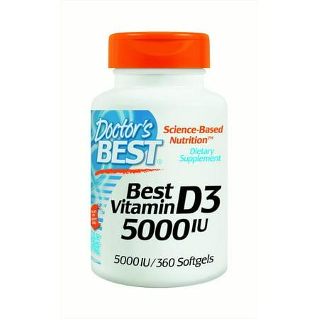 Doctor's Best Vitamin D3 5000IU Capsules, 360 Ct