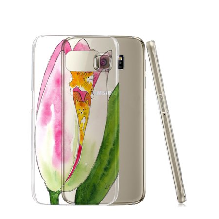 KuzmarK™ Samsung Galaxy S6 Edge Clear Cover Case - Tiny Tiger Kittie Fairies with Pink Tulip Fantasy Cat Art by Denise Every