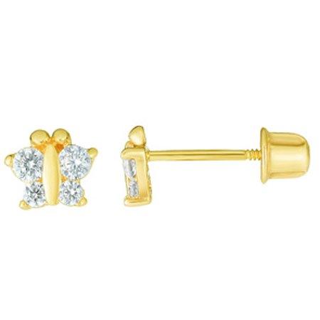 14 Karat Yellow Gold Kids Butterfly Stud Earrings 14k Yellow Gold Butterfly Earrings