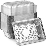 """MontoPack Disposable Takeout Pans with Clear Lids 50 pack 5x4"""" 2lb Tins"""