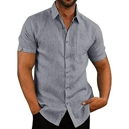 LELINTA Mens Short Sleeve Beach Shirts Linen Cotton Button Down Fishing Tees Spread Collar Plain Summer Shirts (Geoffrey Beene Spread Collar Dress Shirt)