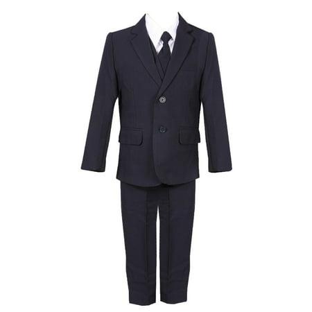 Rain Kids Little Boys Navy Slim Fit Fancy 5 pc Special Occasion Suit
