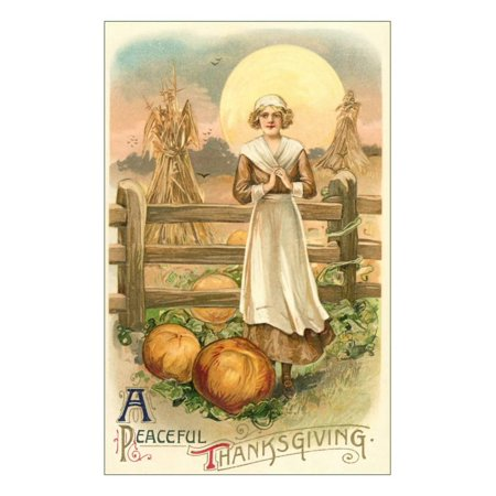 Thin Farm Lady with Wheat and Pumpkins Print Wall Art