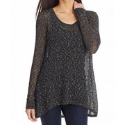Eileen Fisher NEW Black Marled Draped Women's Size Large L Knit Top $238