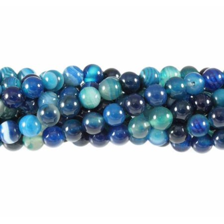6mm Blue Striped Agate Round, Loose Beads, 40cm 15 inch Gem Stone