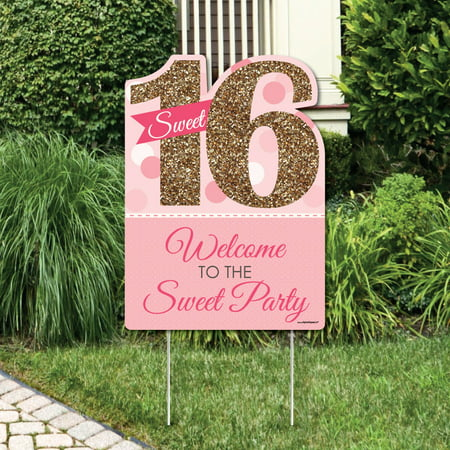 Sweet 16 - Party Decorations - Birthday Party Welcome Yard - Boy Sweet 16 Decorations