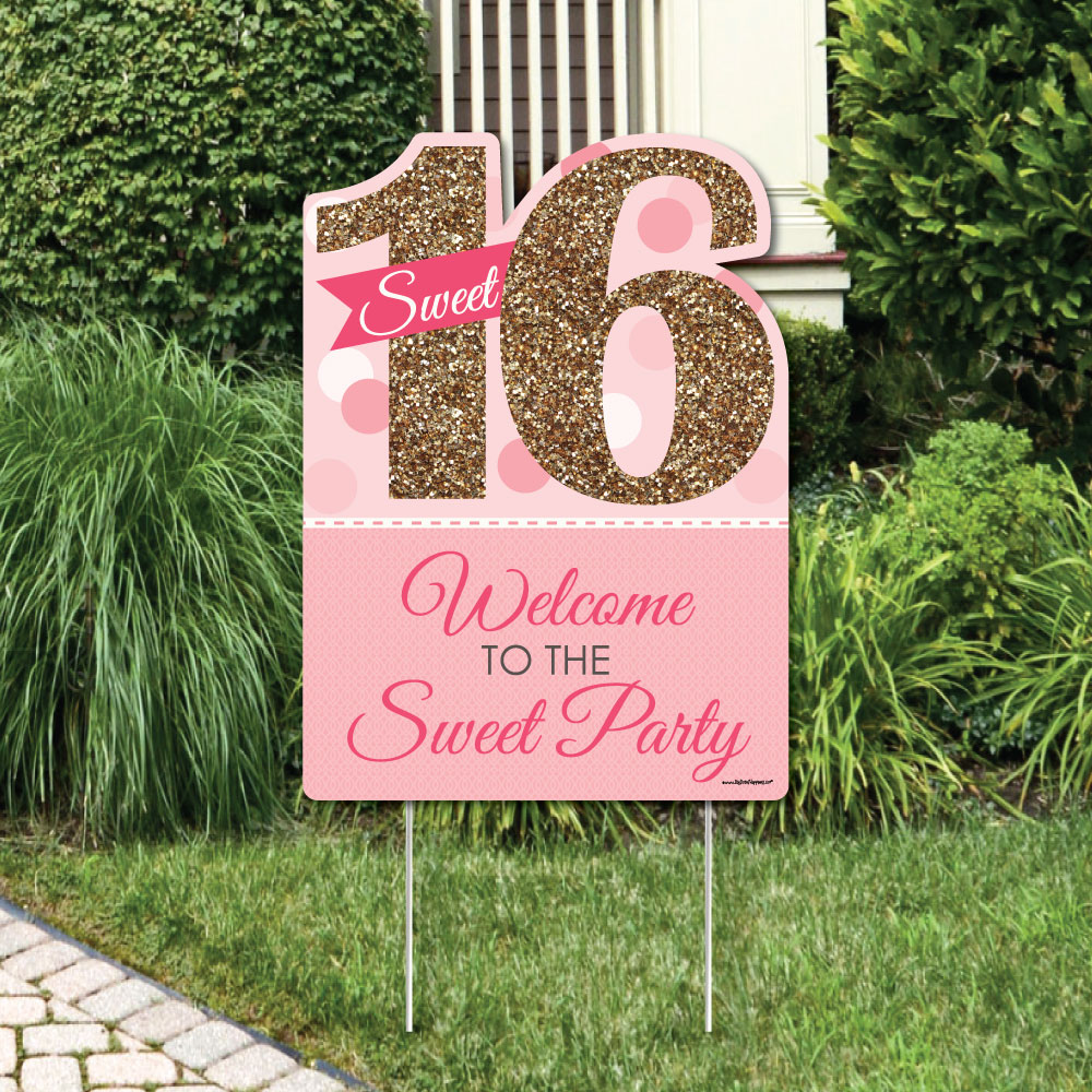 Sweet 16 - Party Decorations - Birthday Party Welcome Yard Sign