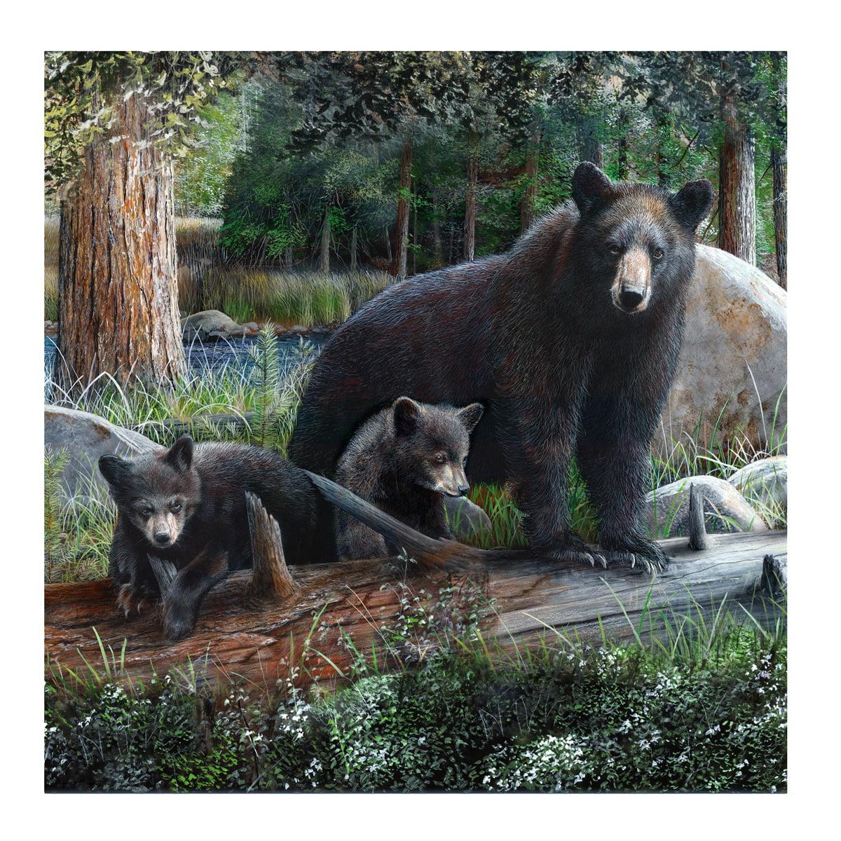 "Black Bear&Cubs 70"" Fabric Bath Shower Curtain Rustic Bathroom Home/Cabin Decor - Walmart.com ..."