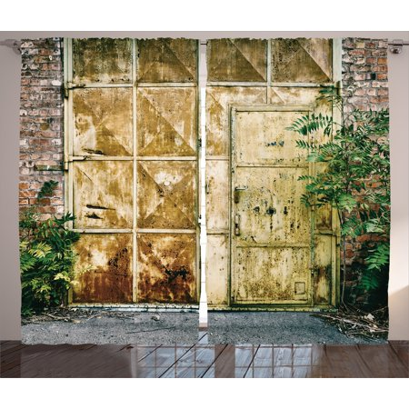 Industrial Curtains 2 Panels Set  Rustic Brick House Still Door With Moss And Dirt Urban Garage Outdoor Image  Window Drapes For Living Room Bedroom  108W X 84L Inches  Green Yellow  By Ambesonne