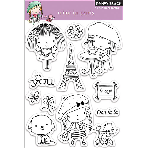 """Penny Black Clear Stamps 4"""" x 6"""" Sheet, Mimi In Paris"""