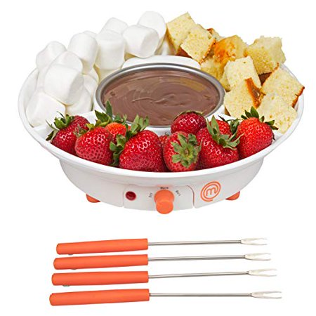 MasterChef Chocolate Fondue Maker- Deluxe Electric Dessert Fountain Fondue Pot Set with 4 Forks and Party Serving Tray ()