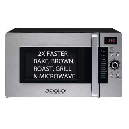Apollo Ad 34 Cts B  Half Time Convection Microwave Oven Countertop  1 2 Cu Ft  Capacity  1600 Watts Cooking Power  Bake  Brown  Roast   Grill 2X Faster