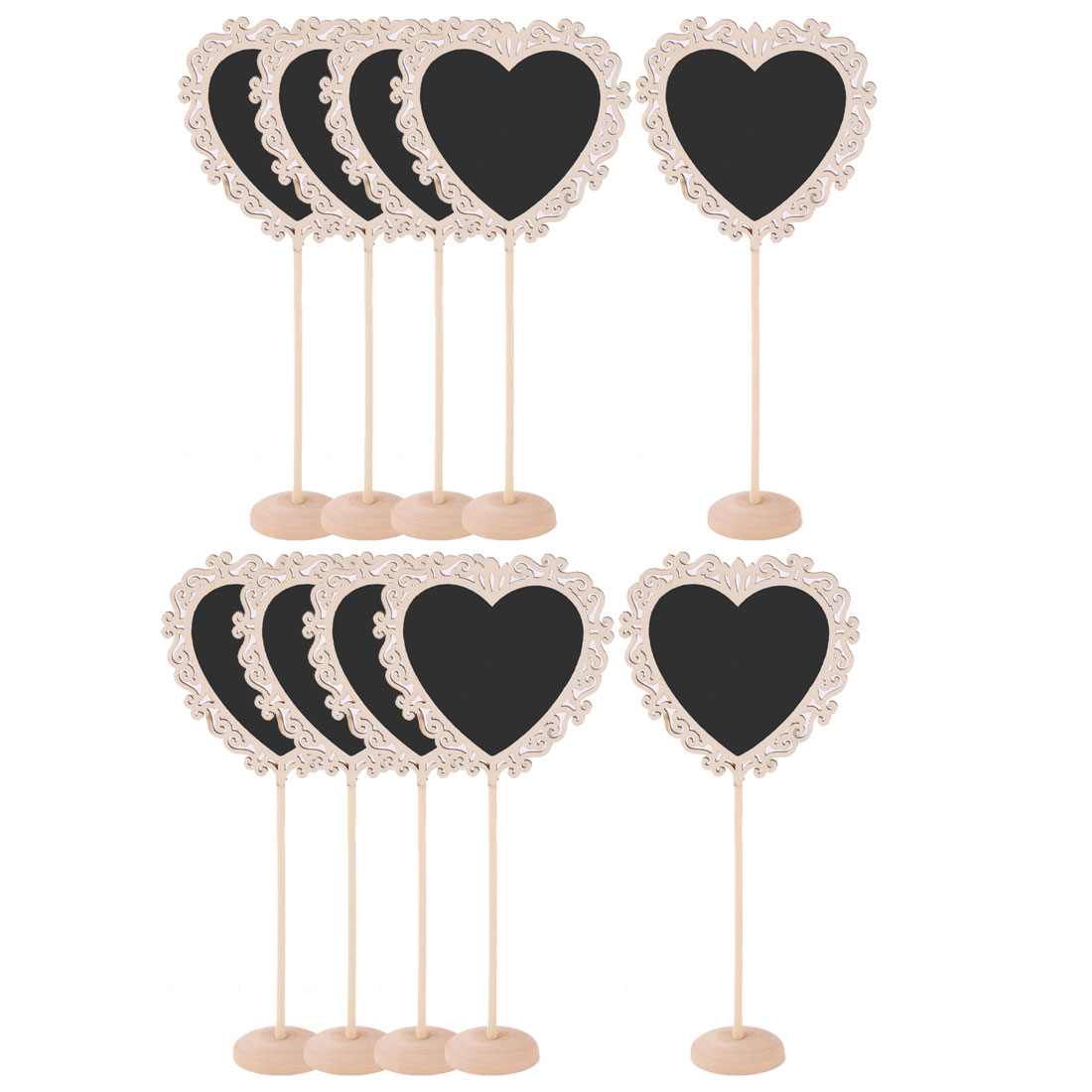 Wedding Wood Heart Shaped Message Standing Number Chalkboard Blackboard 10 Pcs