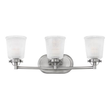 Fabulous Hinkley Lighting 5353 Bennett 3 Light 24 1 4 Wide Bathroom Vanity Light With Holophane Glass Shades Download Free Architecture Designs Aeocymadebymaigaardcom