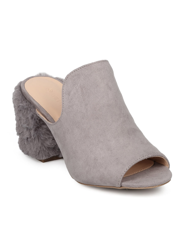 Women Faux Suede Furry Block Heel - Casual, Dressy, Versatile - Chunky Heel Mule - GG06
