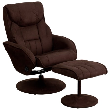 Flash Furniture Microfiber Recliner and Ottoman with Circular Microfiber-Wrapped Base,