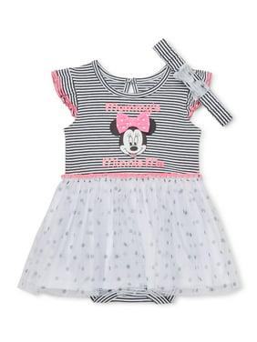 Disney Minnie Mouse Baby Girl Bodysuit Tutu Dress & Headband, 2pc Set