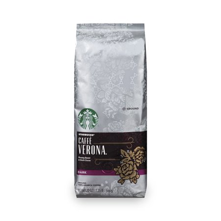 (2 Pack) Starbucks Caffe Verona Dark Roast Ground Coffee, 20-Ounce Bag