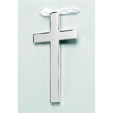 Silver-plated White Ribboned Cross - Engravable Personalized Gift Item