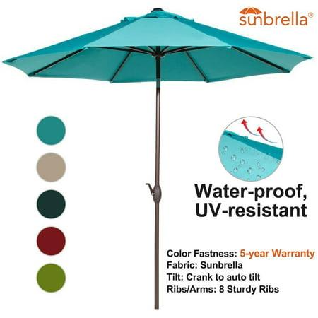 Abba Patio 9-Ft Fade Resistant Sunbrella Fabric Aluminum Patio Umbrella with Auto Tilt and Crank, 8 Ribs, -